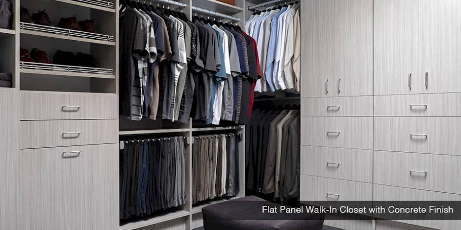 Flat Panel Walk-In Closet with Concrete Finish