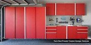 Tech Red Powder Coated Garage Cabinets