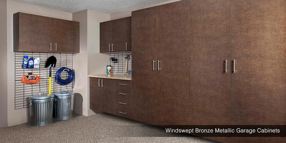 Windswept Bronze Metallic Garage Cabinets