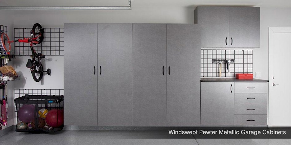 Windswept Pewter Metallic Garage Cabinets